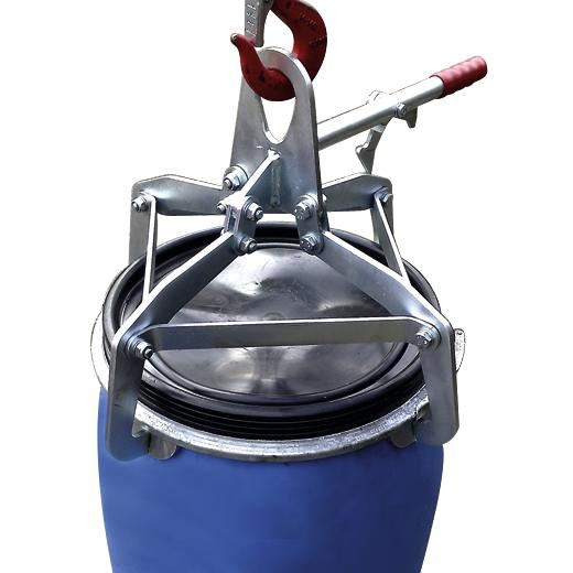 Clamping claw gripper for 120-litre Polyethylene lidded drums