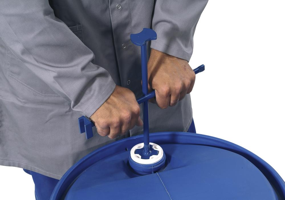 Cross-shaped drum wrench, steel, painted, to open most common drum covers