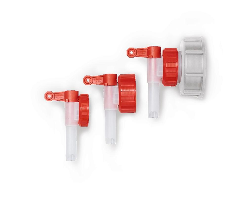 Dispensing tap AH 40, plastic, for plastic canisters, with Ø 13 mm tap, outside thread Ø 42 mm