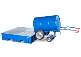 Drum cart FKR-S2 steel, blue, solid rubber tyres, 2 support wheels, for 205/220-l drums, anti-static-w280px
