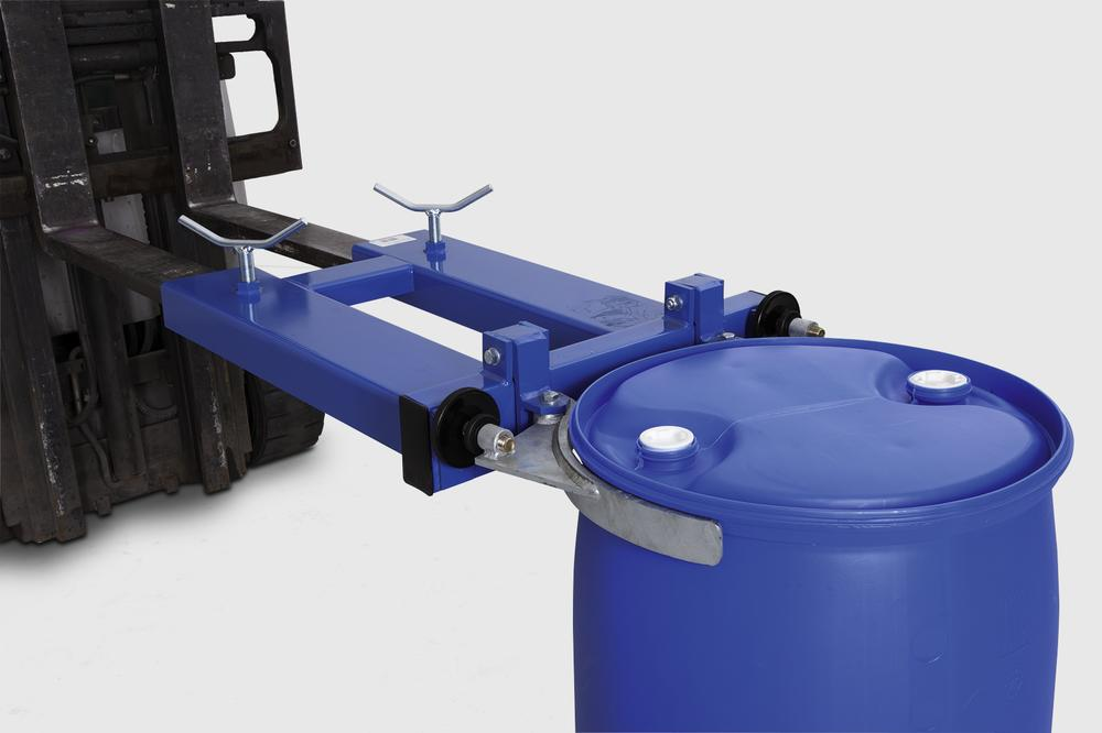drum clamp SK-S, forklift truck attachment, steel painted, for 1 x 205-l-steel- or plasticdrums