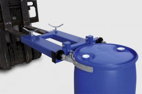 drum clamp SK-S, forklift truck attachment, steel painted, for 1 x 205-l-steel- or plasticdrums-w280px