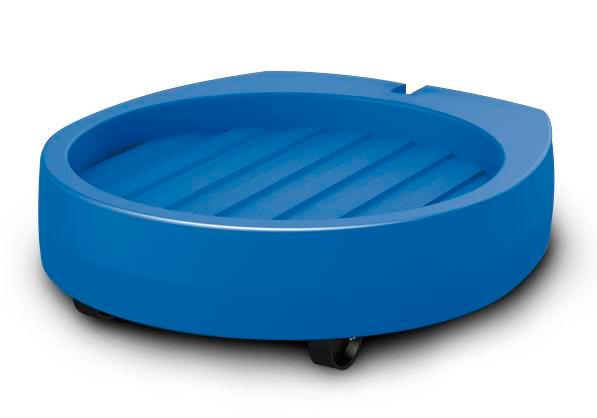 Drum dolly Poly200 E made from Polyethylene (PE), 2 swivel castors, blue