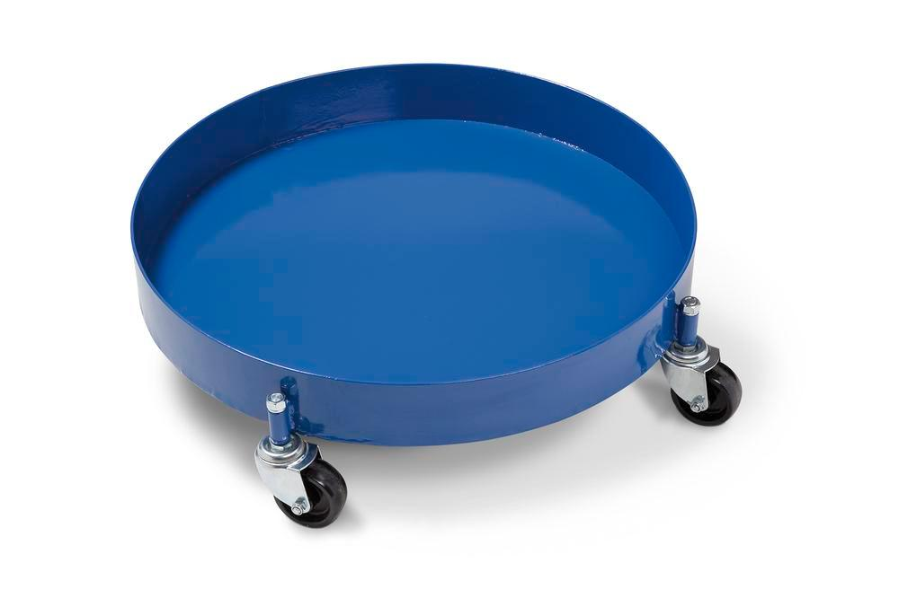 Drum dolly, with oil-tight welded and closed sump pan, for 205 litre drums, 4 swivel castors, blue - 1