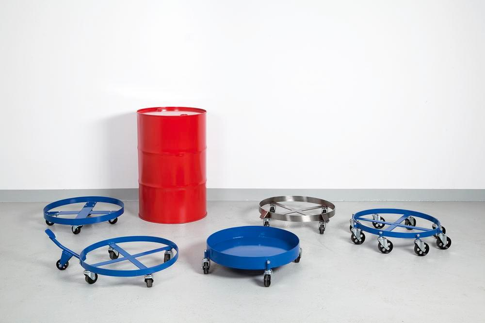 Drum dolly, with oil-tight welded and closed sump pan, for 205 litre drums, 4 swivel castors, blue - 2