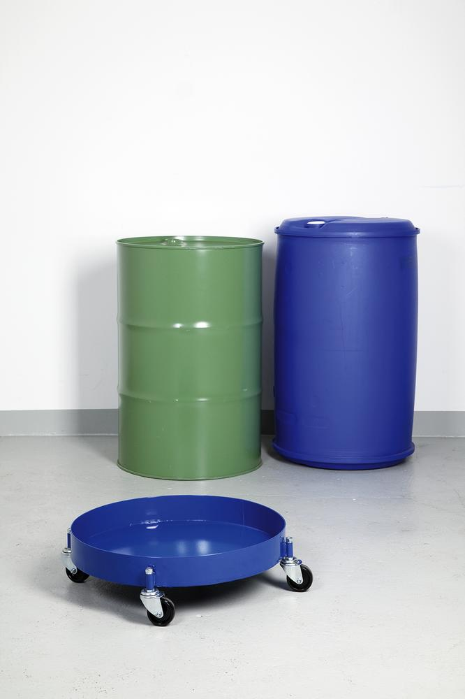Drum dolly, with oil-tight welded and closed sump pan, for 205 litre drums, 4 swivel castors, blue