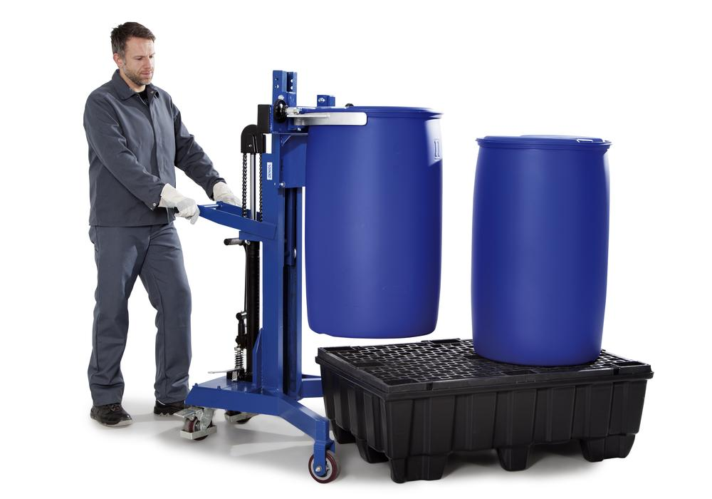 Drum lifter LD-SK in steel for 205 - 220 l steel and plastic drums, V form frame, painted