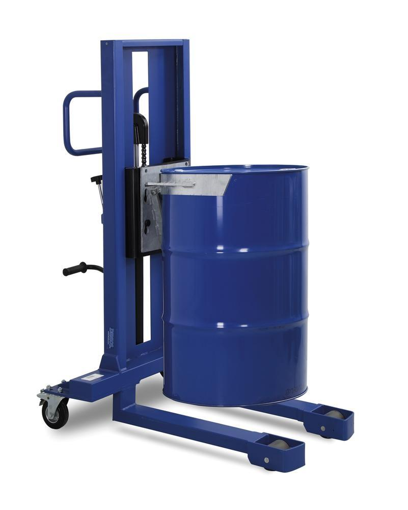 Drum lifter Servo, drum clamp, 205 litre steel drums, narrow chassis, lift height 120-520 mm - 1