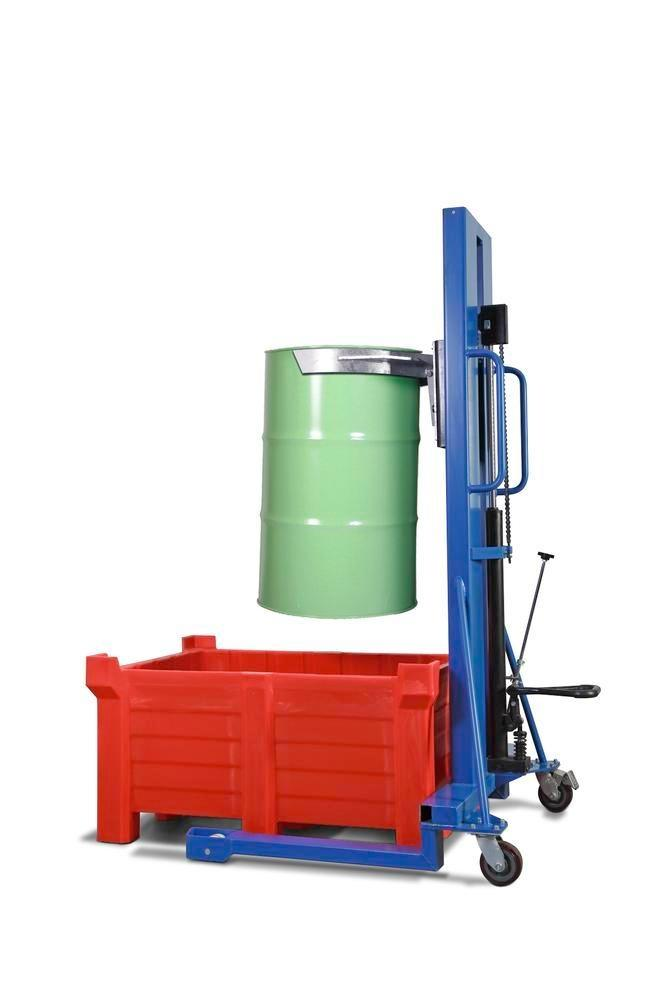 Drum lifter Servo, drum clamp, 205 litre steel drums, wide chassis, lift height 0-1170 mm - 1
