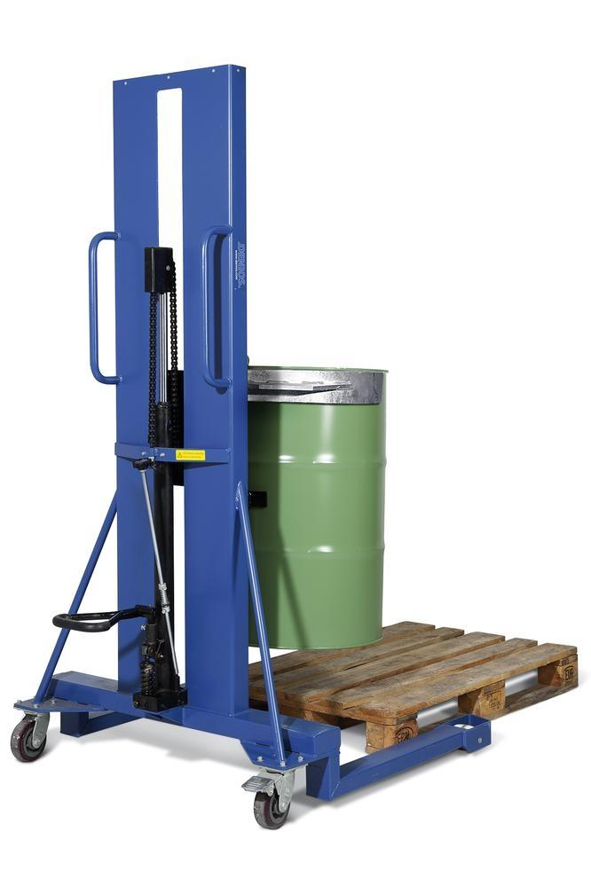 Drum lifter Servo, drum clamp, 205 litre steel drums, wide chassis, lift height 0-1170 mm - 2