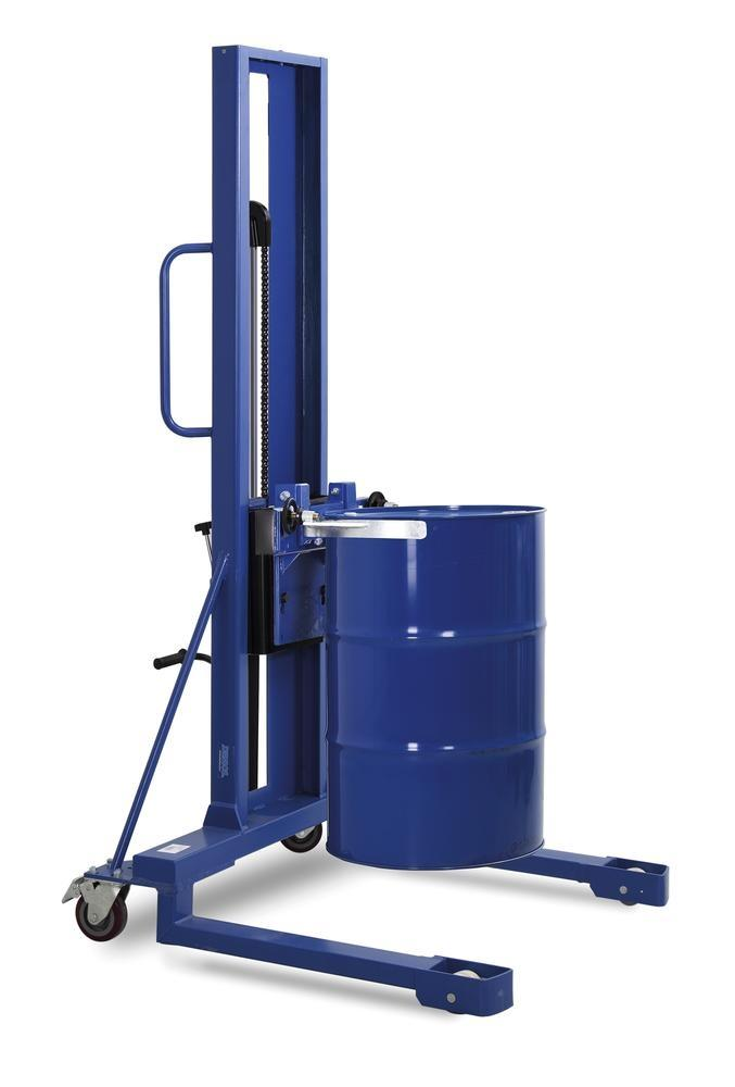 Drum lifter Servo, drum clamp, 205 to 220 litre drums, wide chassis, lift height 0-1170 mm