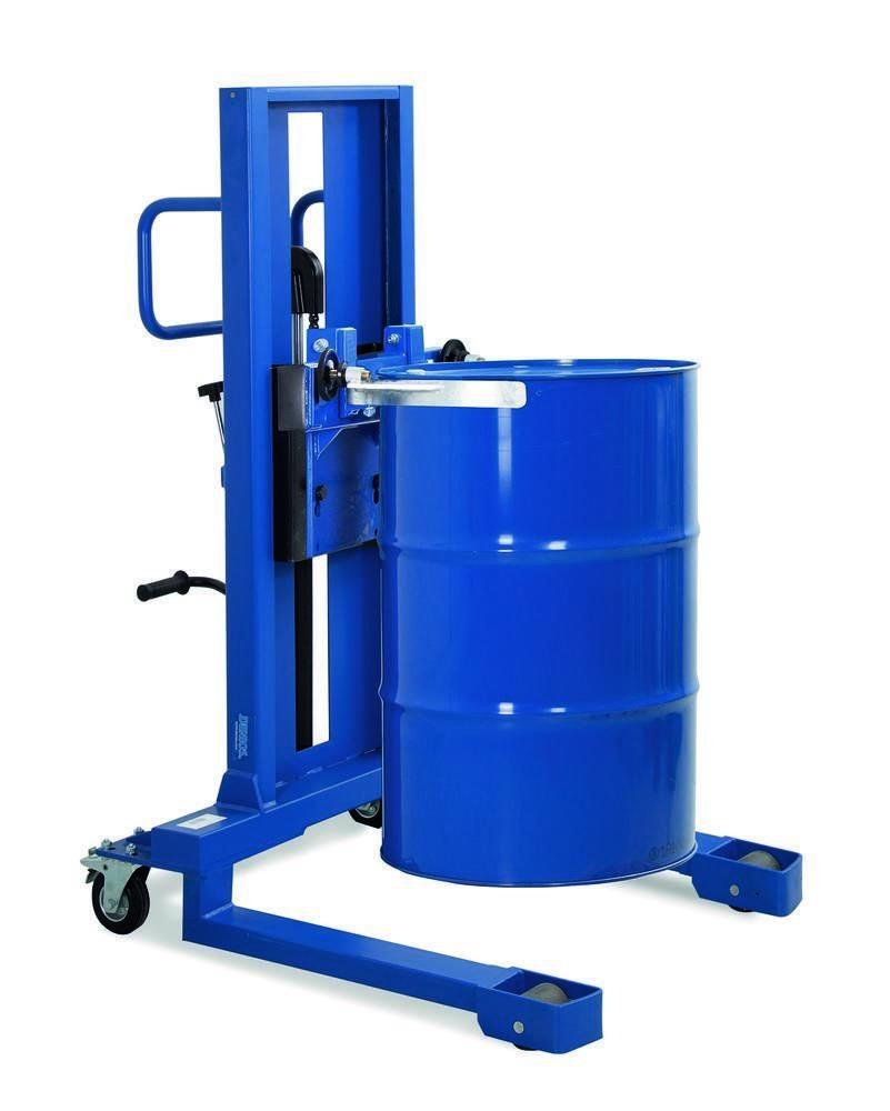 Drum lifter Servo, drum clamp, 205 to 220 litre drums, wide chassis, lift height 0-520 mm