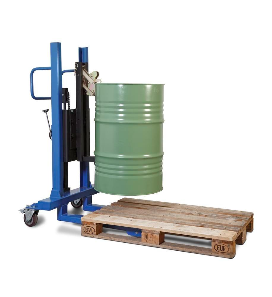 Drum lifter Servo, drum gripper, 60 to 205 litre steel drums, narrow chassis, lift height 120-740 mm