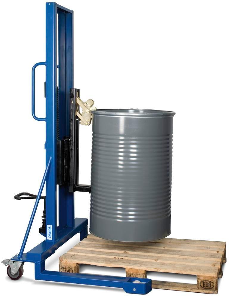 Drum lifter Servo, drum gripper, 60 to 205 litre steel drums, wide chassis, lift height 0-1390 mm