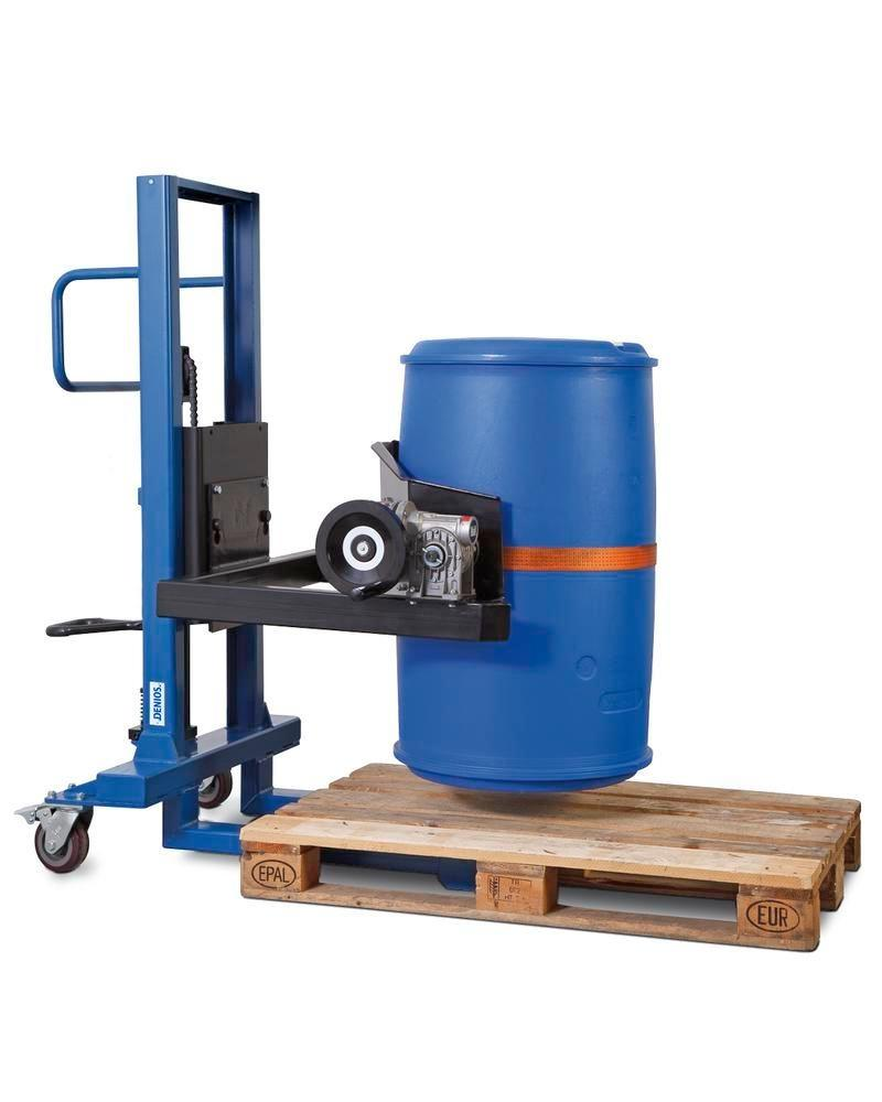 Drum lifter Servo, drum turner 360, 60 to 220 litre drums, narrow chassis, lift height 120-750 mm
