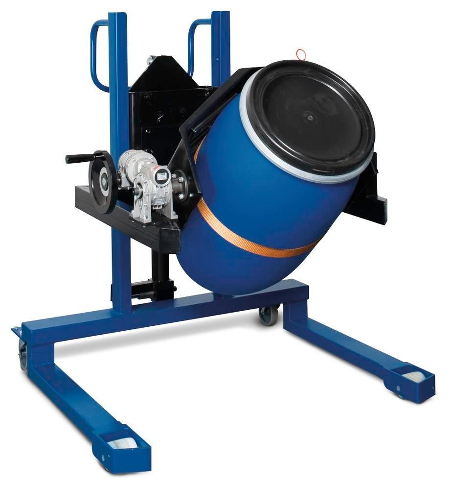 Drum lifter Servo, drum turner 360, 60 to 220 litre drums, wide chassis, lift height 0-750 mm