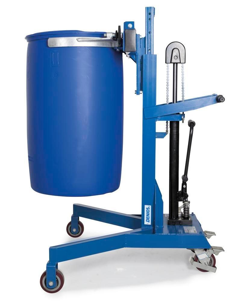 Drum lifter Servo Eco, drum clamp, 205 to 220 litre drums, v-shaped chassis, lift height 0-500 mm