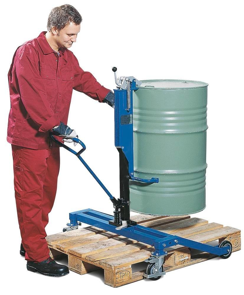 Drum lifter Servo Eco, drum gripper, 205 l steel ribbed drums, wide chassis, lift height 0-300 mm