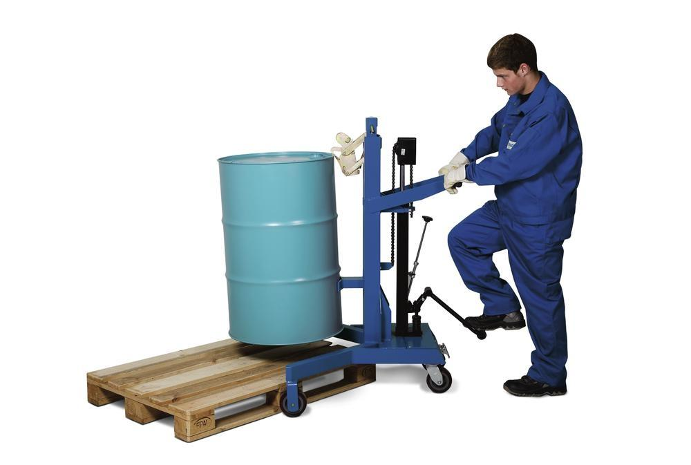 Drum lifter Servo Eco, drum gripper, 205 litre steel drums, v-shaped chassis, lift height 0-485 mm