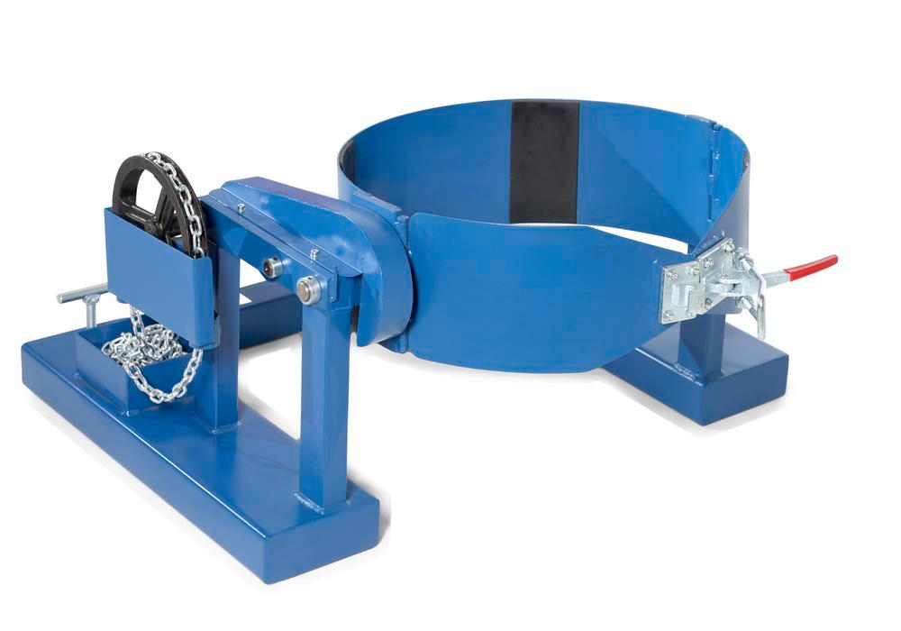 Drum turner, SVK, manufactured from steel, painted, for 1 drum holding 205 litres, with a chain
