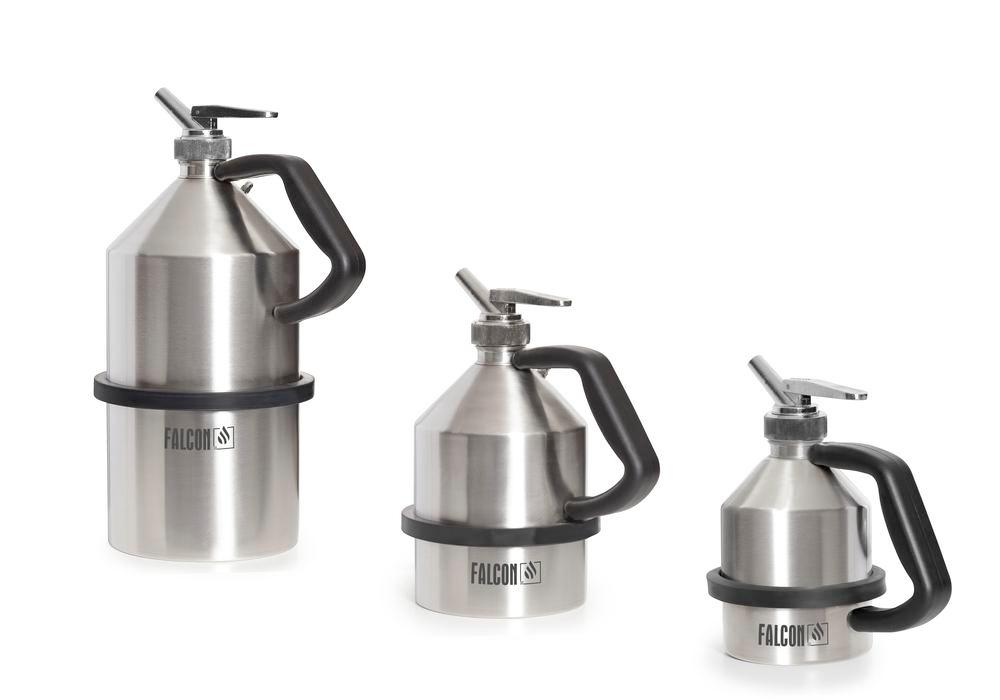 FALCON safety jug in stainless steel, with fine dosing tap, 1 litre
