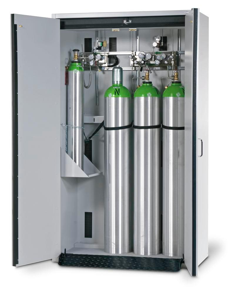 Fire-resistant compressed air gas cylinder cabinet G30.12, 1200 mm wide, 2 hinged doors, grey