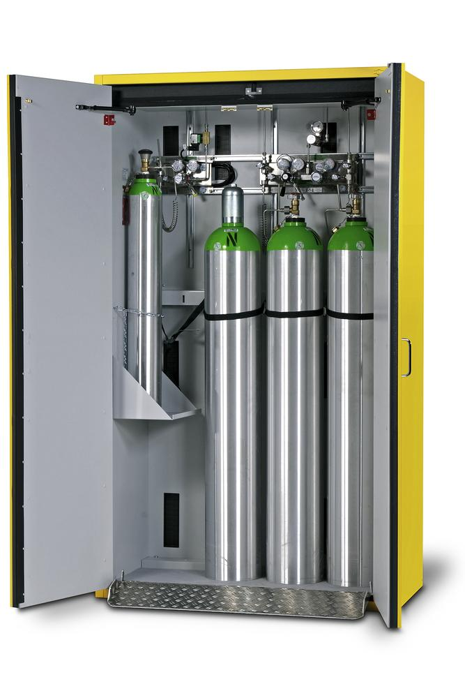 Fire-resistant compressed air gas cylinder cabinet G30.12, 1200 mm wide, 2 hinged doors, yellow