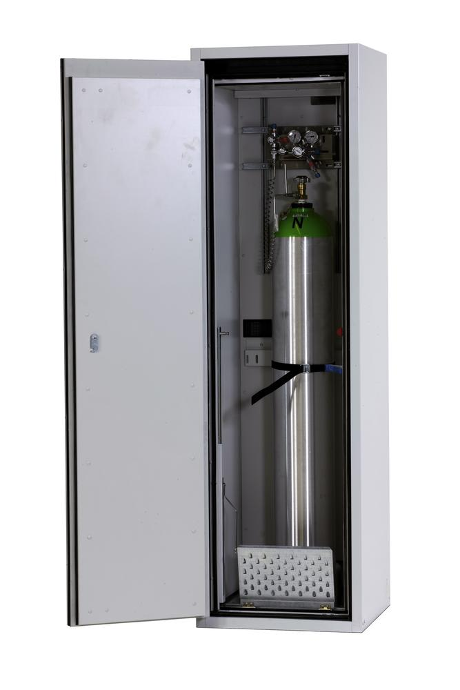 Fire-resistant compressed air gas cylinder cabinet G90.6, 600 mm wide, hinged on left, grey