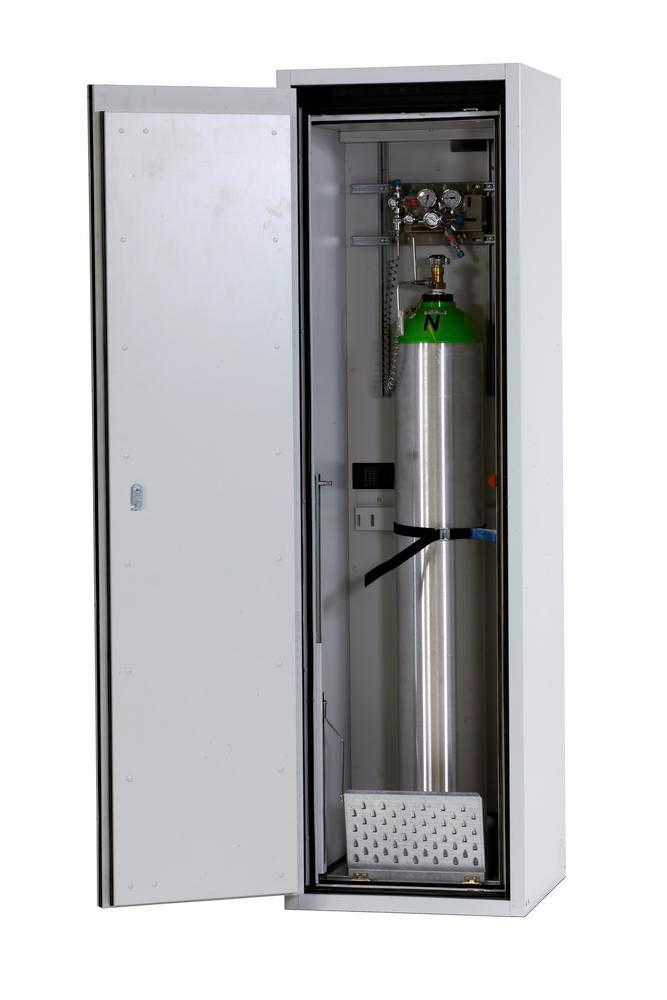 Fire-resistant compressed air gas cylinder cabinet G90.6, 600 mm wide, hinged on right, yellow