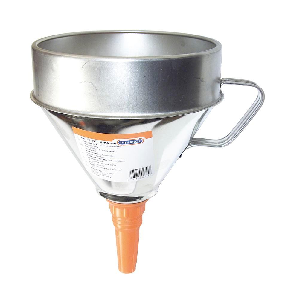 Funnel, galvanized steel, with handle and inflexible funnel neck, Ø 200mm - 1
