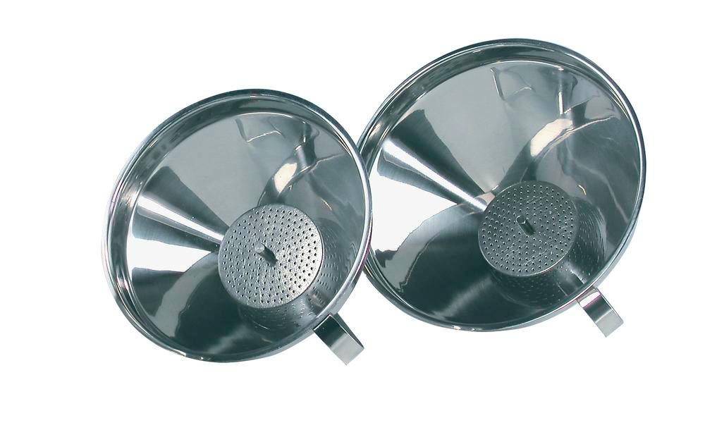 Funnel, stainless steel, with strainer and handle, Ø 120mm - 1