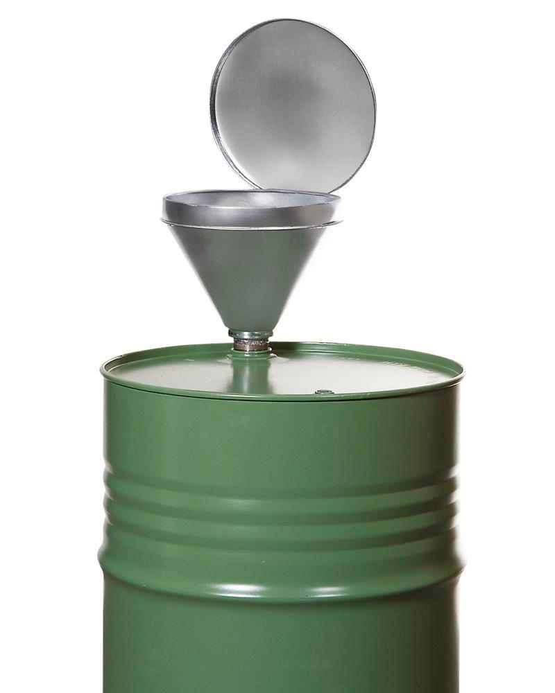 Galvanized steel drum funnel with lid