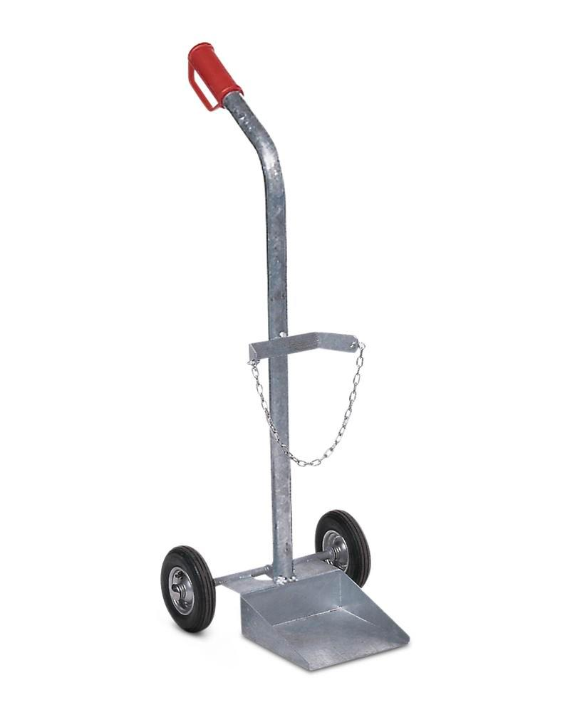 Gas cylinder trolley GFR-1, steel, for 1 gas cylinder, pneumatic wheels