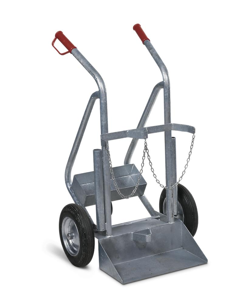 Gas cylinder trolley GFR-L, steel, with stabiliser, for 2 gas cylinders, pneumatic wheels