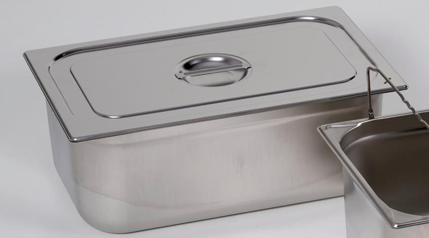 Lid for small container GN-B 2/4, stainless steel, with handle - 1