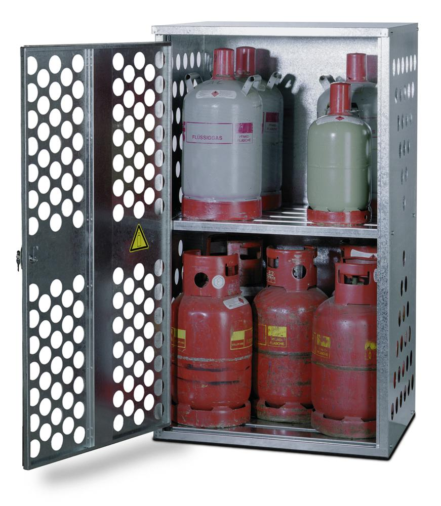 Liquid gas cabinet, FGF 801 for 4 x 33 or 10 x 11 kg cylinders, 1 wing door, opens on the left