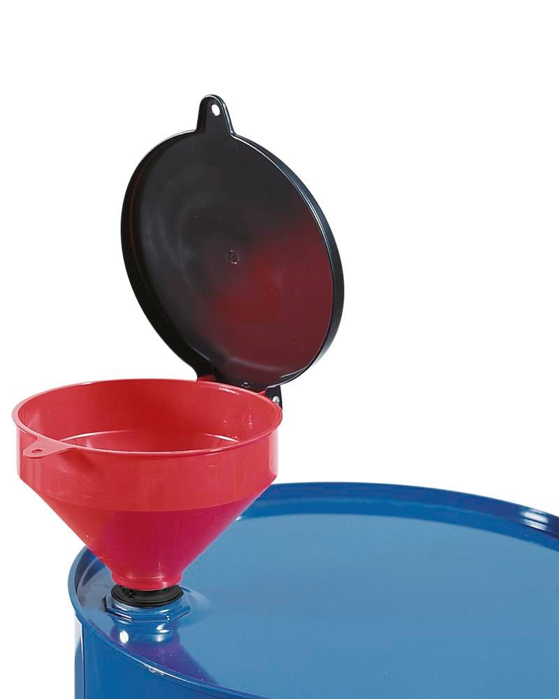 "Lockable funnel manufactured from polyethylene for drums with 2"" bung holes"