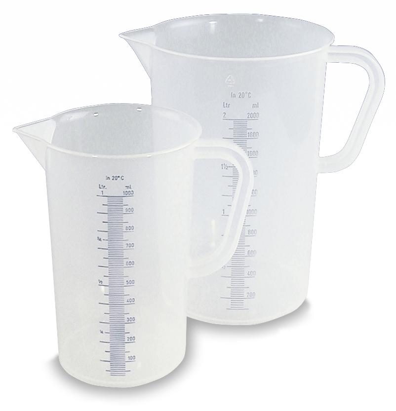 Measuring jugs, polypropylene, with imprinted measuring scale 1 litre capacity, 10 pack