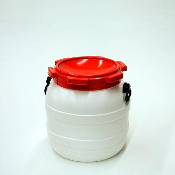 Open head drum WH 42, made from Polyethylene (PE), 42 litre volume, white/ red