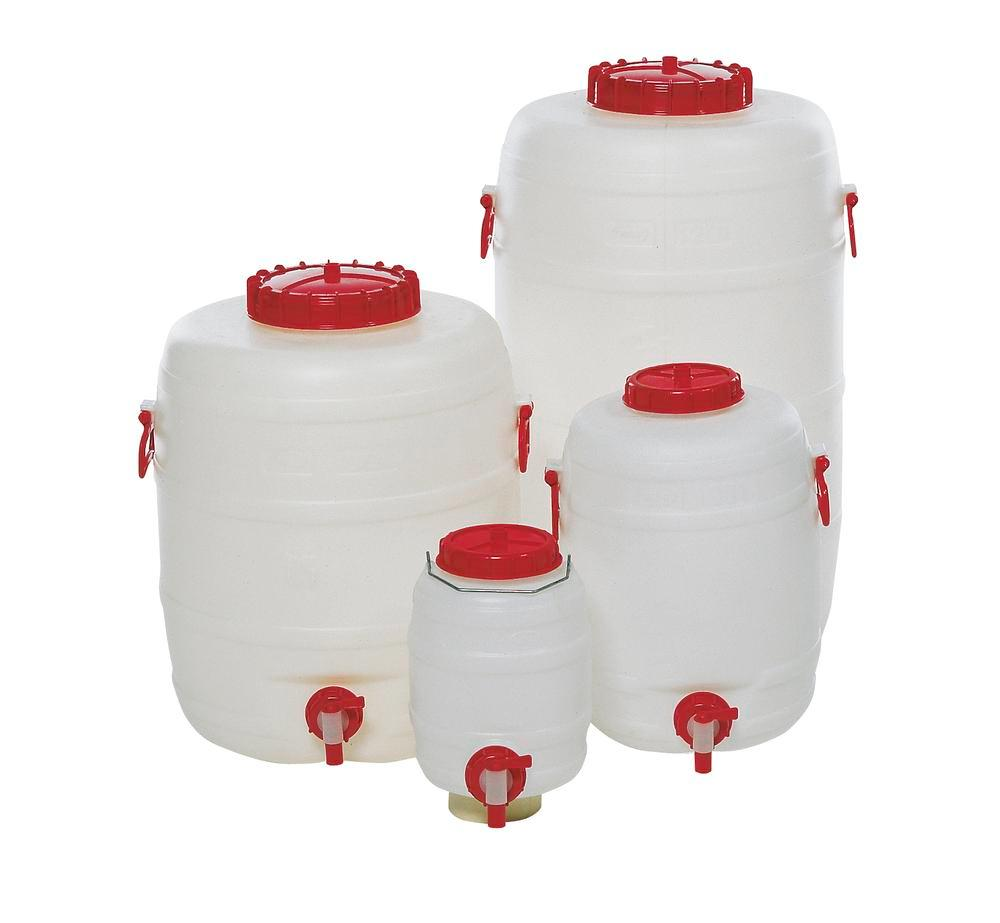 PE drum RF 13, with dispensing tap and 2 carry handles, 125 litre capacity