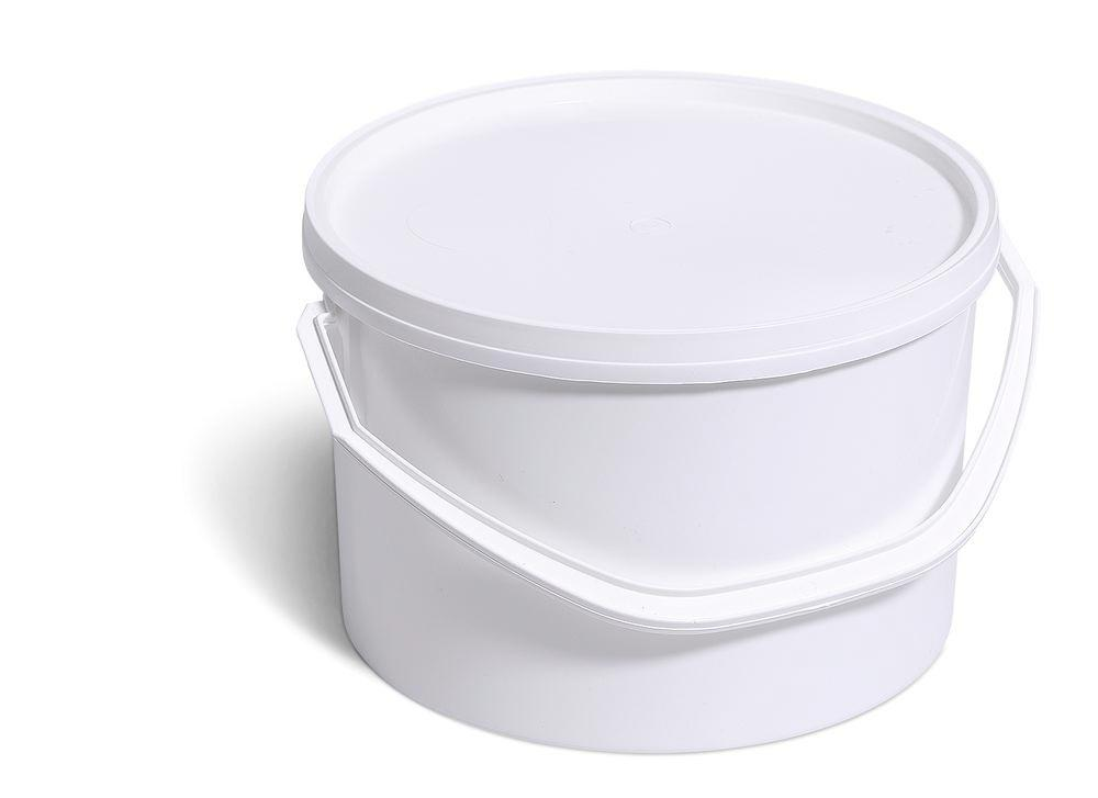 Plastic bucket in polypropylene with UN approval, 7.5 litres, white with lid