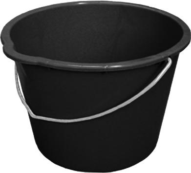 Plastic bucket, made from recycled polyethylene, 12 litre capacity, black