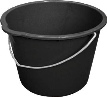 Plastic bucket, made from recycled polyethylene, 20 litre capacity, black