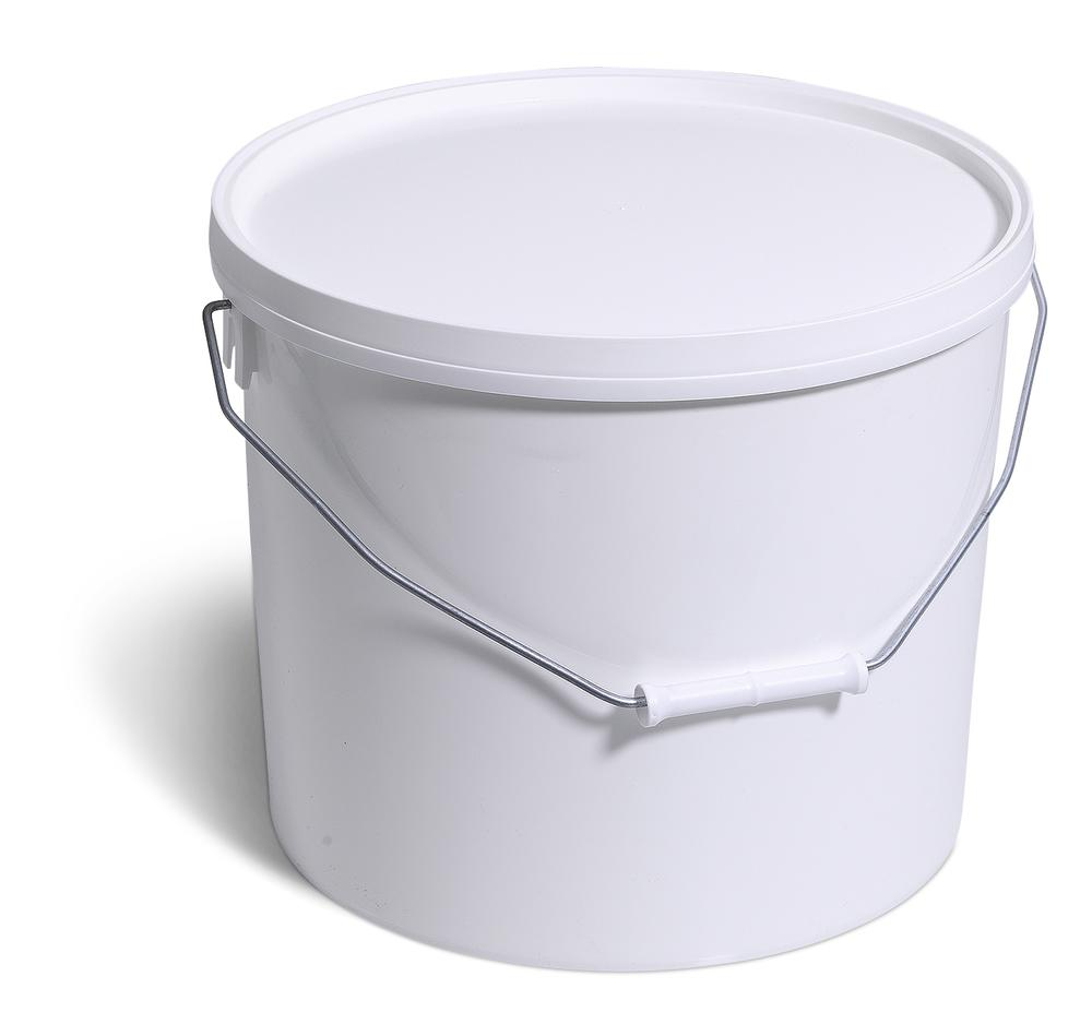 Plastic buckets in polypropylene with UN approval, 16 litres, white with lid