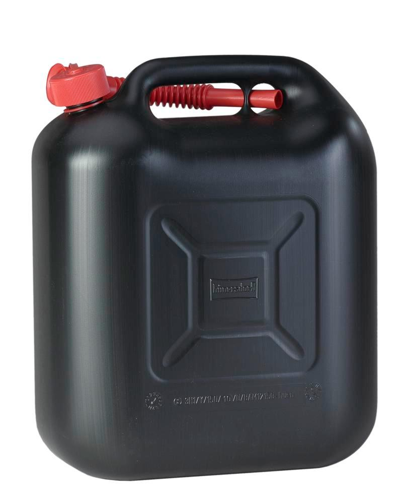 Plastic canister, polyethylene, 20 litre capacity, included black spout, black