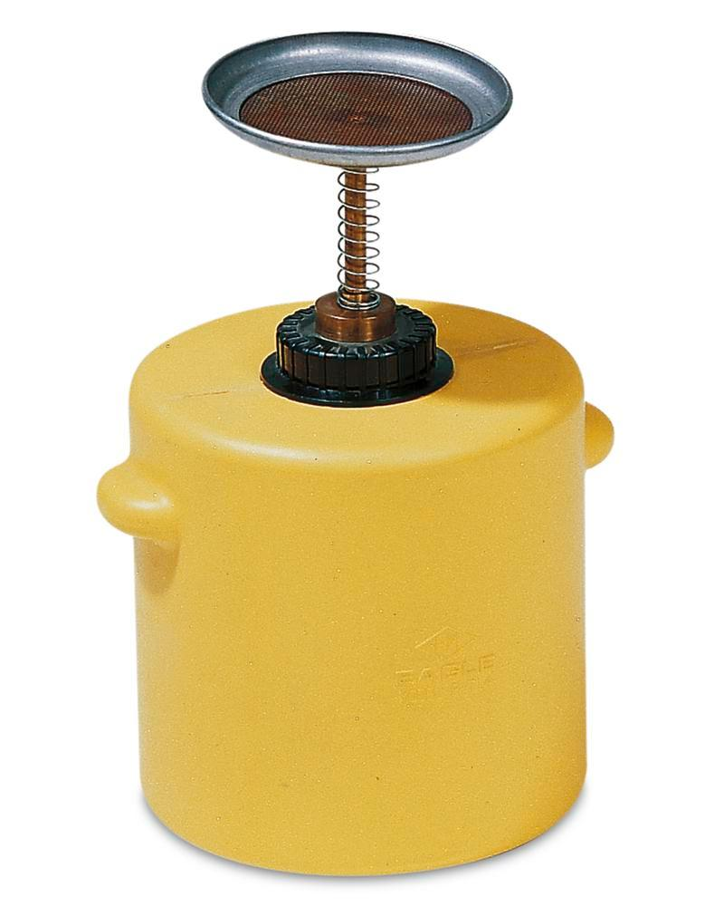 Plunger can made from Polyethylene (PE), 1 litre volume, yellow