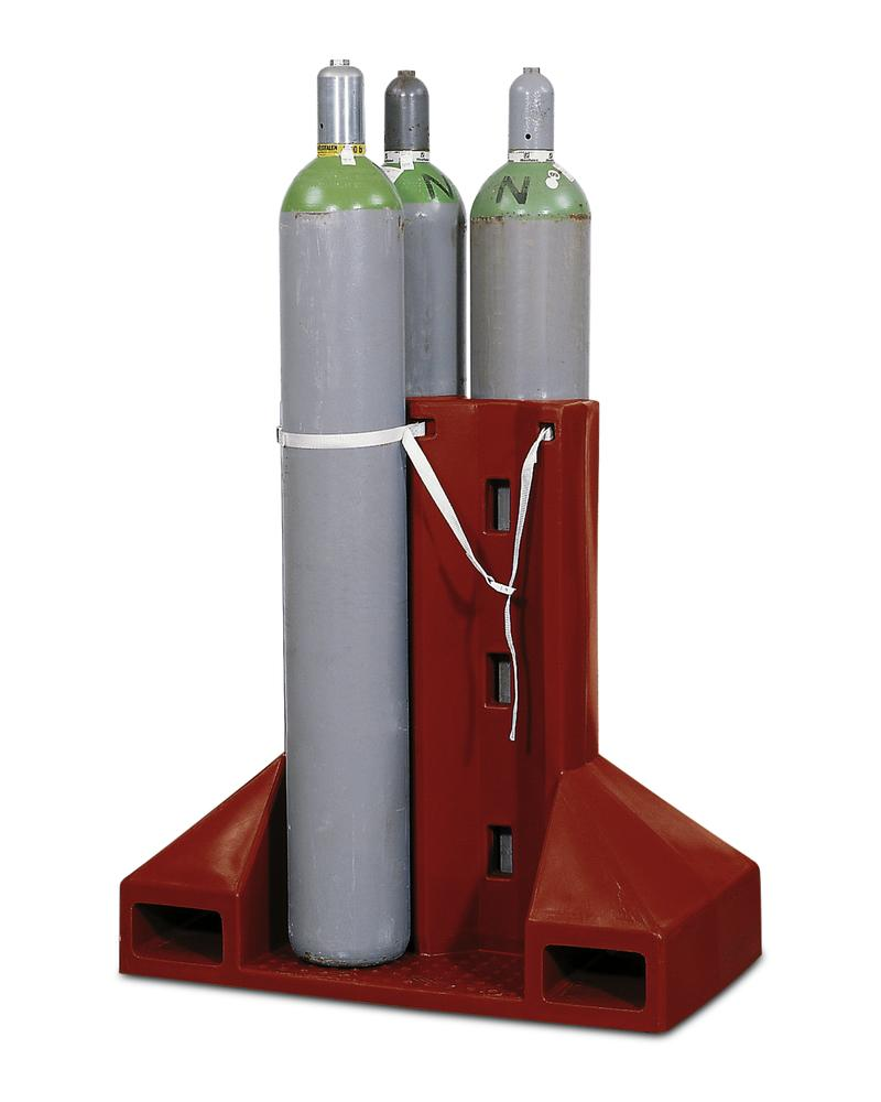 Polyethylene gas cylinder pallet, GFP-4, for up to 4 gas cylinders with securing strap - 1