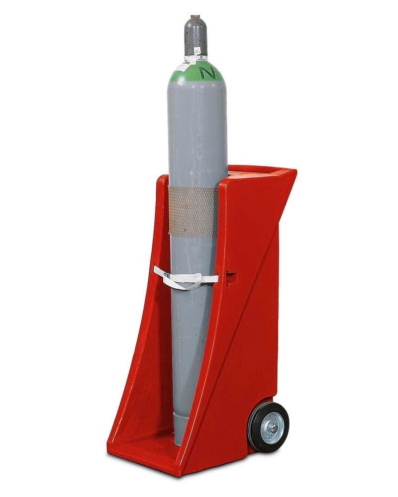 Polyethylene gas cylinder trolley, GFW-1, for 1 gas cylinder, with securing strap
