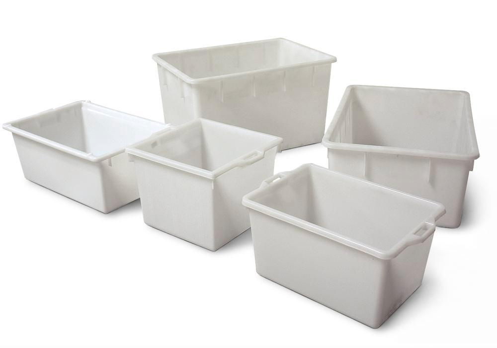Rectangular container, polyethylene, 65 litre capacity, resistant to many acids and alkalis, white