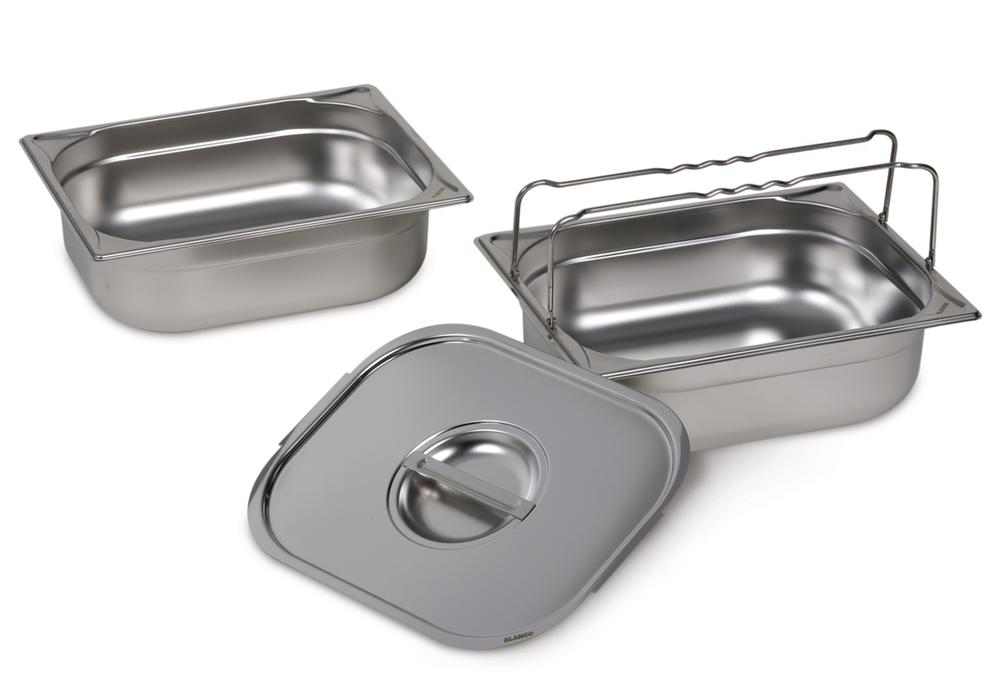Small container GN-B 1/2-100, stainless steel, with handle, 6 litre capacity - 1